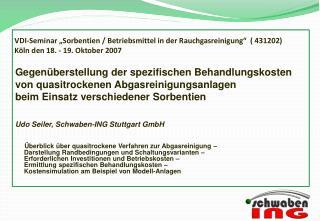 Gegenüberstellung der spezifischen Behandlungskosten von quasitrockenen Abgasreinigungsanlagen