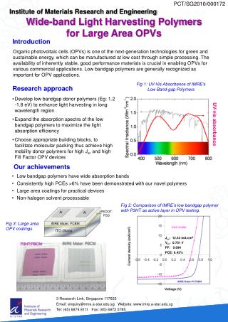 Wide-band Light Harvesting Polymers for Large Area OPVs