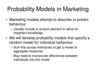 Probability Models in Marketing