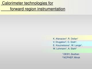 Calorimeter technologies for   	forward region instrumentation