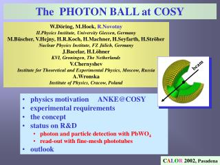 The  PHOTON BALL at COSY