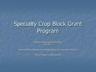 Specialty Crop Block Grant Program