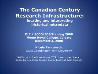 The Canadian Century Research Infrastructure: locating and interpreting historical microdata