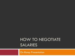 Job Offer  Salary Negotiations