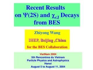 Recent Results   on  (2S) and  cJ  Decays from BES