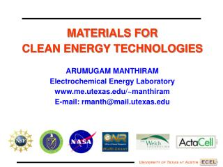 MATERIALS FOR  CLEAN ENERGY TECHNOLOGIES ARUMUGAM MANTHIRAM Electrochemical Energy Laboratory