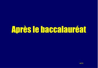Apr�s le baccalaur�at