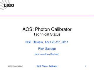 AOS: Photon Calibrator Technical Status