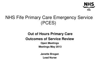 NHS Fife Primary Care Emergency Service (PCES)