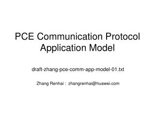 PCE Communication Protocol Application Model