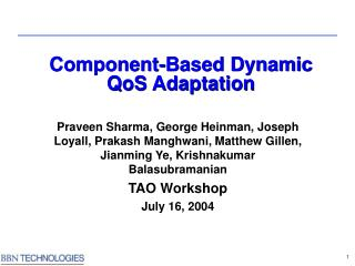 Component-Based Dynamic  QoS Adaptation