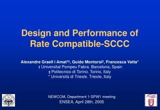 NEWCOM, Department 1-SPW1 meeting ENSEA , April 28th, 2005