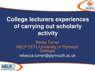 College lecturers experiences of carrying out scholarly activity