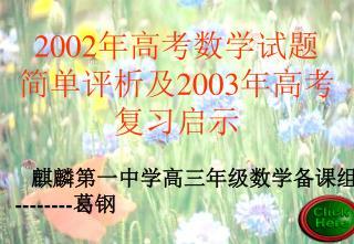 2002 年高考数学试题 简单评析及 2003 年高考  复习启示