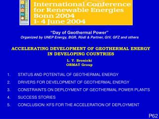 ACCELERATING DEVELOPMENT OF GEOTHERMAL ENERGY IN DEVELOPING COUNTRIES