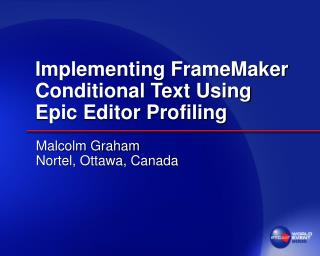 Implementing FrameMaker Conditional Text Using Epic Editor Profiling
