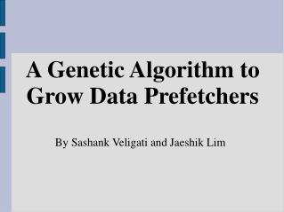 A Genetic Algorithm to Grow Data Prefetchers