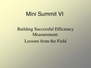 Mini Summit VI