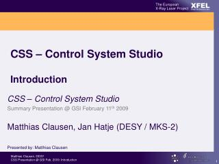 CSS – Control System Studio Introduction