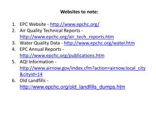 Websites to note: EPC Website -  epchc/