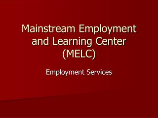 Mainstream Employment and Learning Center (MELC)