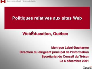 Politiques relatives aux sites Web