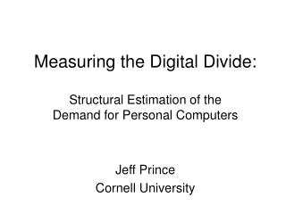Measuring the Digital Divide: