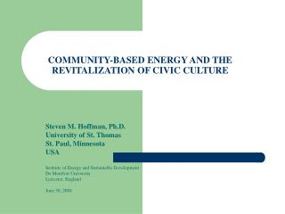 COMMUNITY-BASED ENERGY AND THE REVITALIZATION OF CIVIC CULTURE