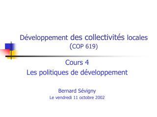 Développement  des collectivités  locales ( COP 619)