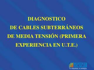 DIAGNOSTICO DE CABLES SUBTERRÁNEOS DE MEDIA TENSIÓN (PRIMERA EXPERIENCIA EN U.T.E.)