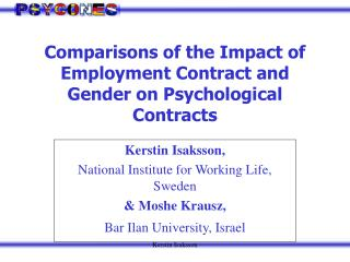 Comparisons of the Impact of Employment Contract and Gender on Psychological Contracts