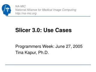Slicer 3.0: Use Cases