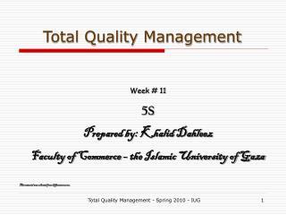 Total Quality Management - Spring 2010 - IUG