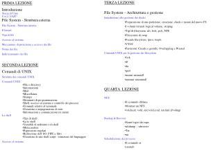 PRIMA LEZIONE Introduzione Storia di Unix Cos'è  UNIX ? File System - Struttura esterna