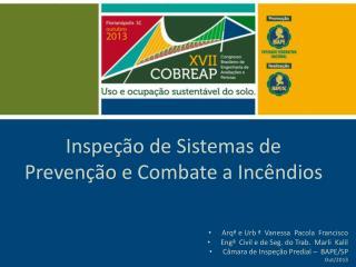 Inspeção de Sistemas de Prevenção e Combate a Incêndios