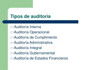 Tipos de auditor�a