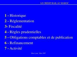 1 -  Historique 2 -  Réglementation 3-  Fiscalité 4 -  Règles prudentielles