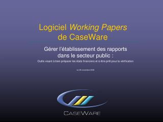 Logiciel  Working Papers                  de CaseWare