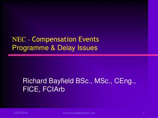 NEC - Compensation Events  Programme  Delay Issues