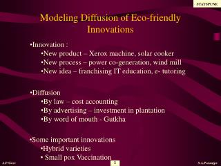 Modeling Diffusion of Eco-friendly Innovations