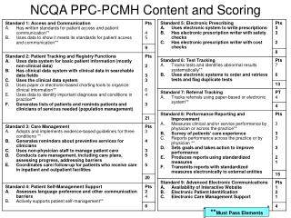 NCQA PPC-PCMH Content and Scoring