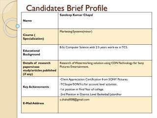 Candidates Brief Profile