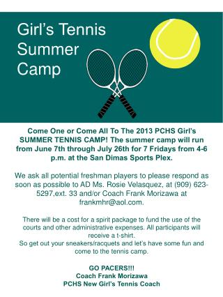Girl�s Tennis Summer Camp