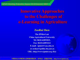 Innovative Approaches    to the Challenges of   e-Learning in Agriculture