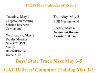 PCHS May Calendar of Events