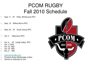 PCOM RUGBY Fall 2010 Schedule