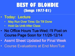 BEST OF BLONDIE (Songs 1977-81)