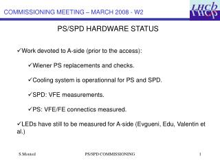 PS/SPD HARDWARE STATUS