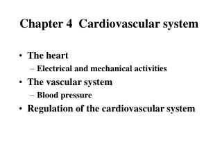 Chapter 4  Cardiovascular system