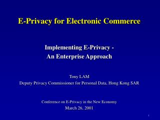 E-Privacy for Electronic Commerce